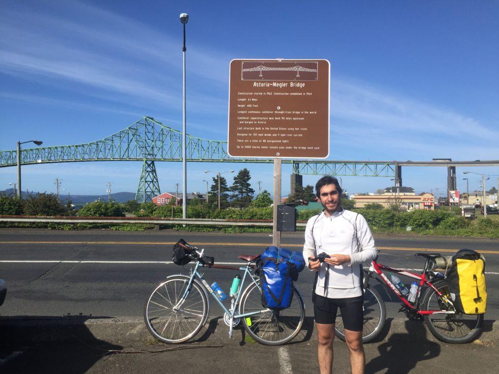 Arturo after we conquered the Astoria bridge. it's 4 miles long. 4. miles. long.